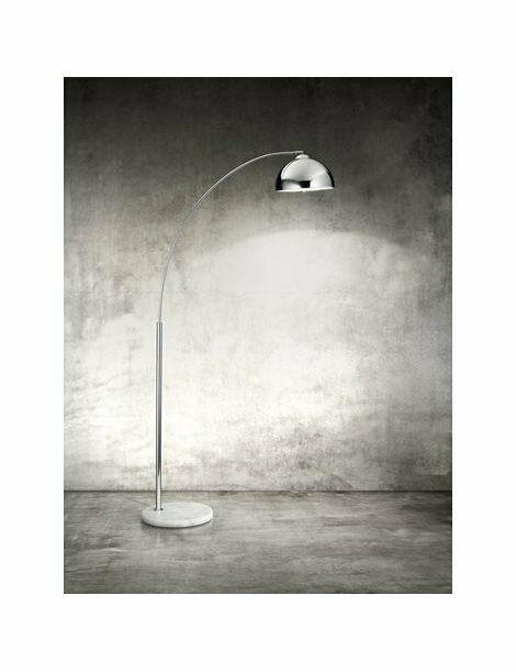 Lampada piantana con corpo in cromo lucido e base in marmo