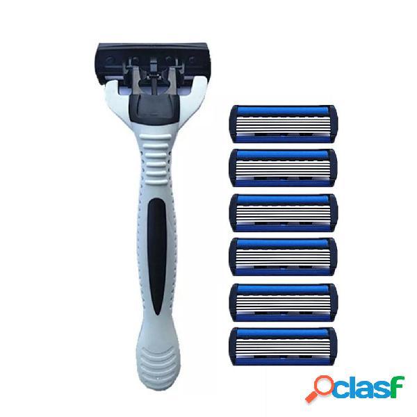 Mans Shaving Rasoio Rasoio vecchio stile manuale 6 strati
