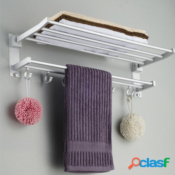 Mensola da Bagno Porta Asciugamani in Aluminio Pieghevole in