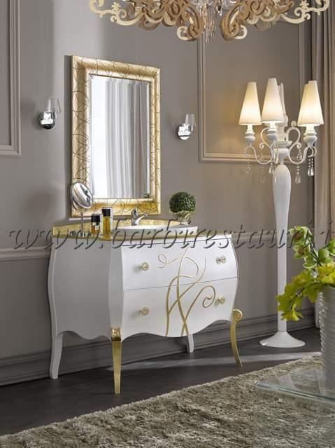 Mobile bagno bombato barocco top cristal maniglie Swarovski