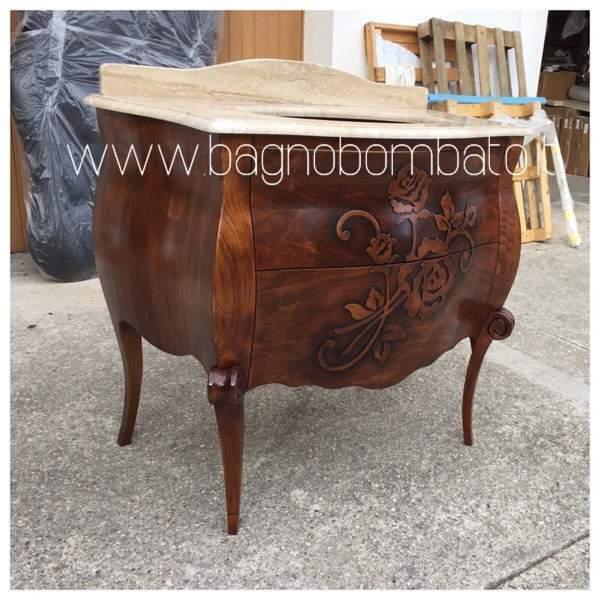 Mobile bagno massello barocco bombato rilievi baocco