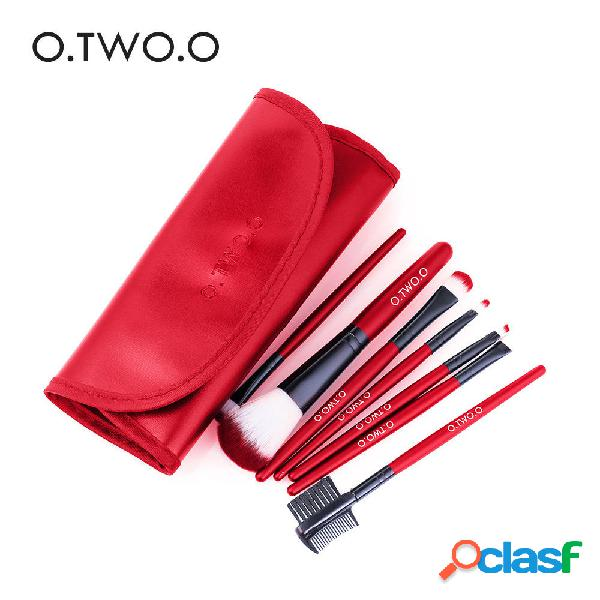 O.TWO.O 7Pcs Red Hot Trucco Spazzole Set Face Eye Trucco