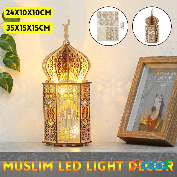Palazzo di legno LED Lampada da notte fai-da-te Eid Mubarak
