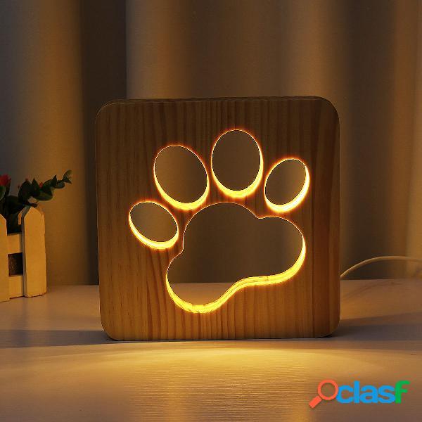 Piedi di cane Artiglio USB Tavolo in legno Lampada da notte