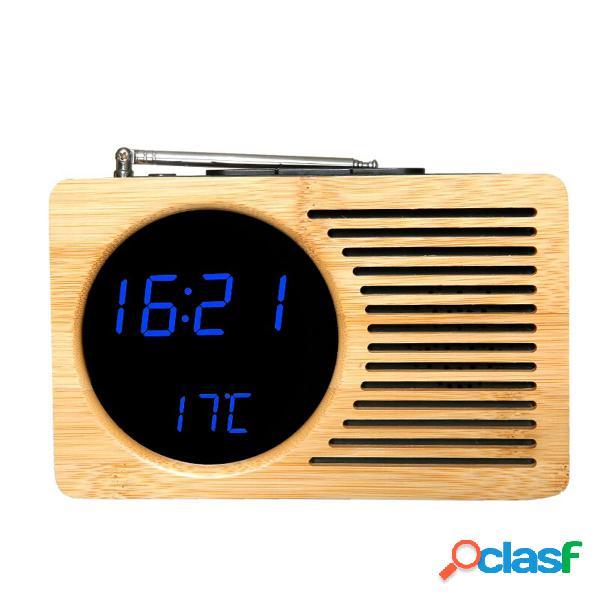 Retro Bamboo LED Digital FM Radio Sveglia Controllo del