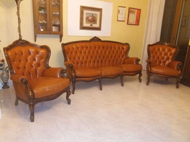 Set Tre divani stile barocco originali con rifiniture legno