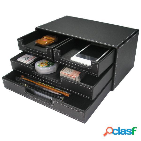 Set da scrivania in pelle in legno a 3 cassetti a 3 strati