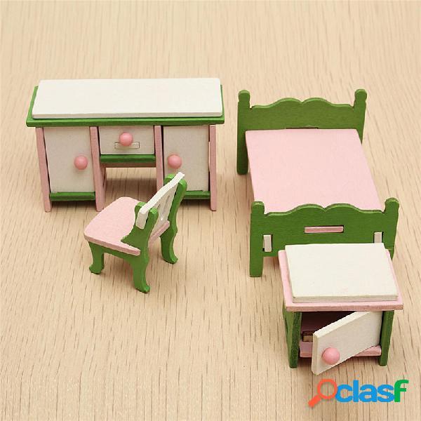 Set di Mobili in Legno Kit di Camera da Letto di Casa di