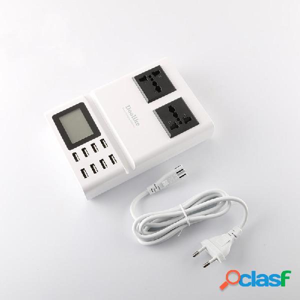 Smart LCD Display 8 Porte di ricarica USB Doppio AC Porte