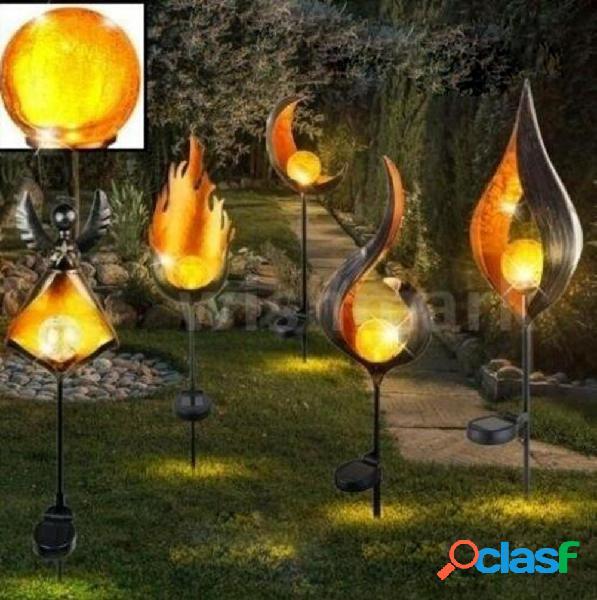 Solar Power LED Landscape Light Path Torch Flame Lighting