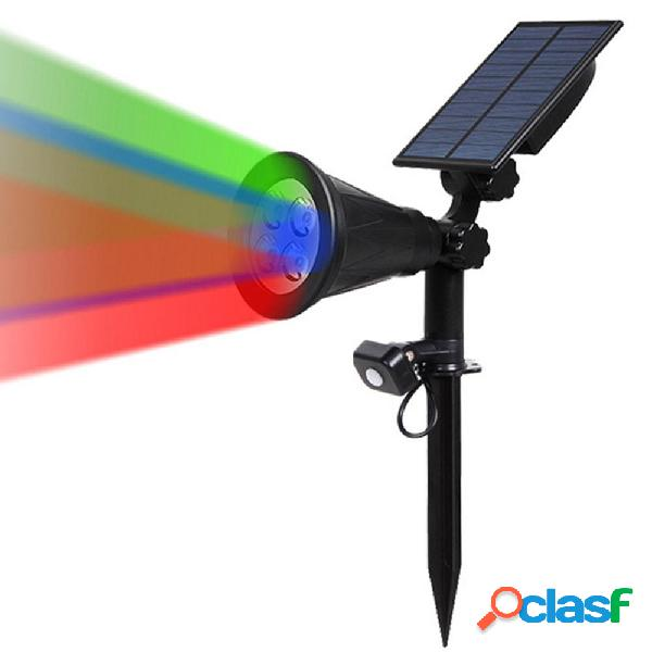 Solar Powered RGB 4 LED PIR Sensore di movimento Prato