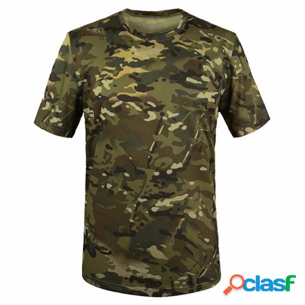 Summer Racing Sports Army Camo Tee Camouflage T Shirt Manica