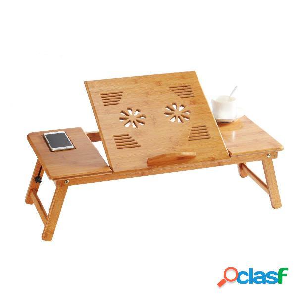 Supporto da tavolo portatile pieghevole in bambù per