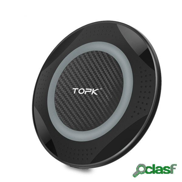 TOPK 10W 5W caricabatterie wireless con pad di ricarica luce