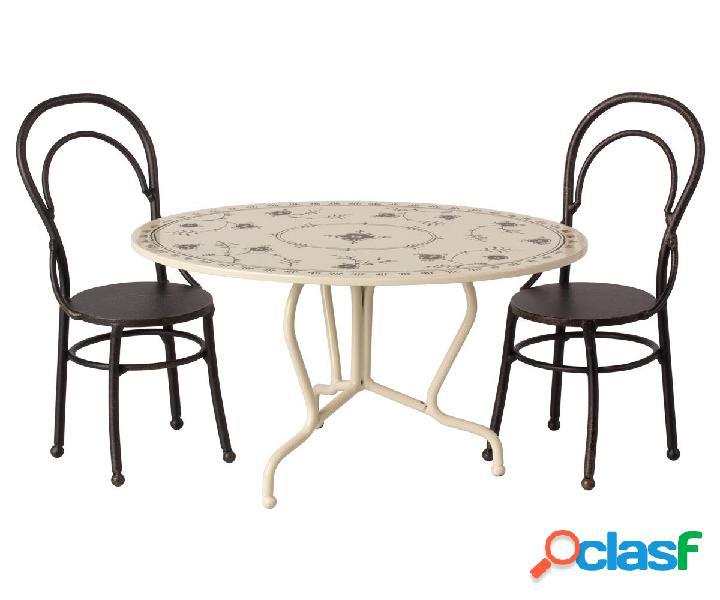 Tavolo Ovale e Sedie Misura Maileg Mini Antracite