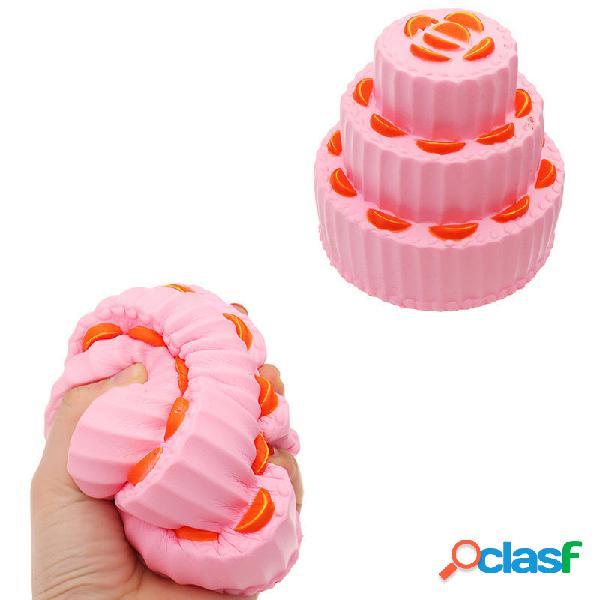 Three Layer Orange Cake Squishy 11cm Slow Rising Anti Regalo