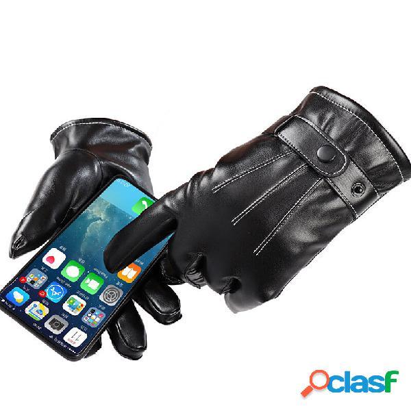 Touch Screen Guanti Pelle di PU impermeabile antivento in