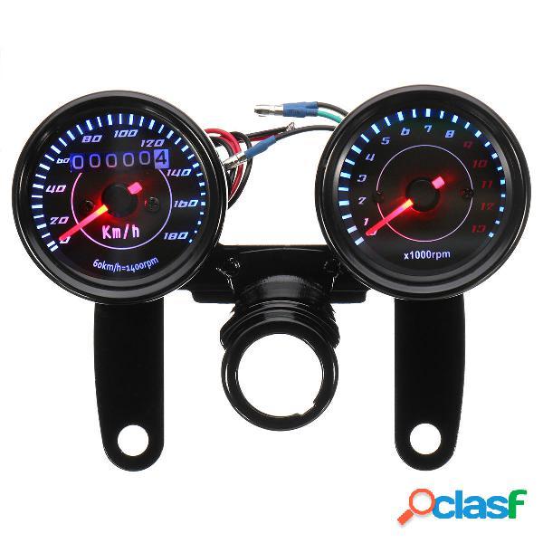 Universal LED Tachimetro nero del motociclo +
