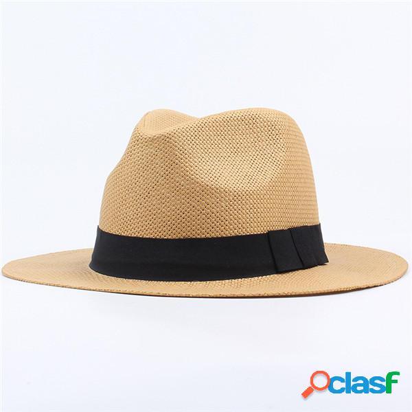 Uomo Donna Classic Cappello da mare Panama con ampia visiera