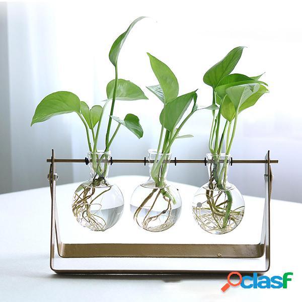 Vaso da tavolo per fioriera in vetro da tavolo con supporto