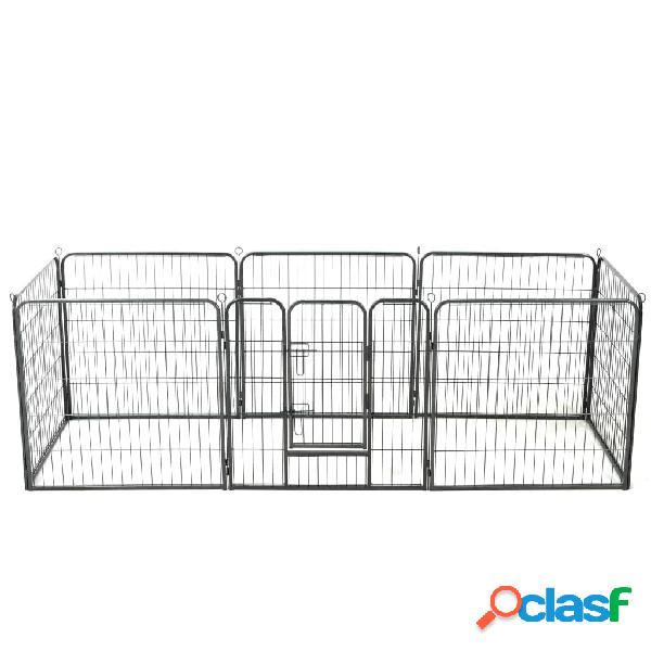 vidaXL Box per Cani con 8 Pannelli in Acciaio 80x80 cm Nero