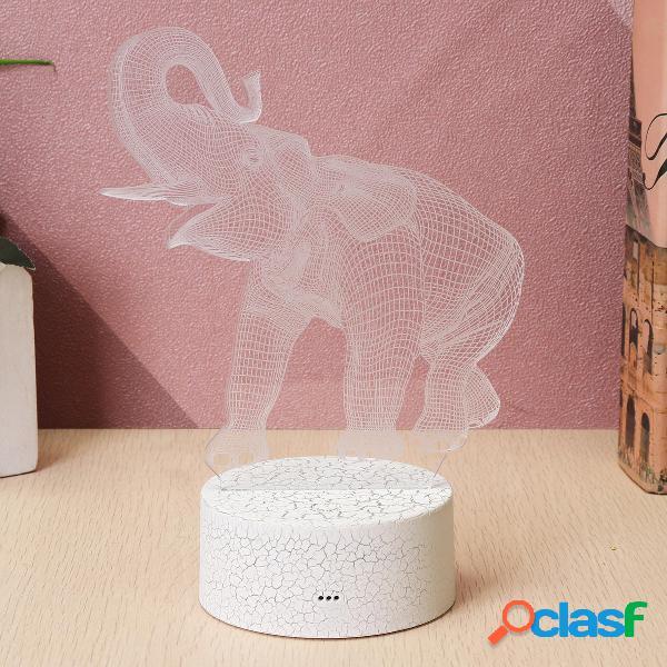 16 colori 3D LED Night Light Touch Switch tavolo da elefante