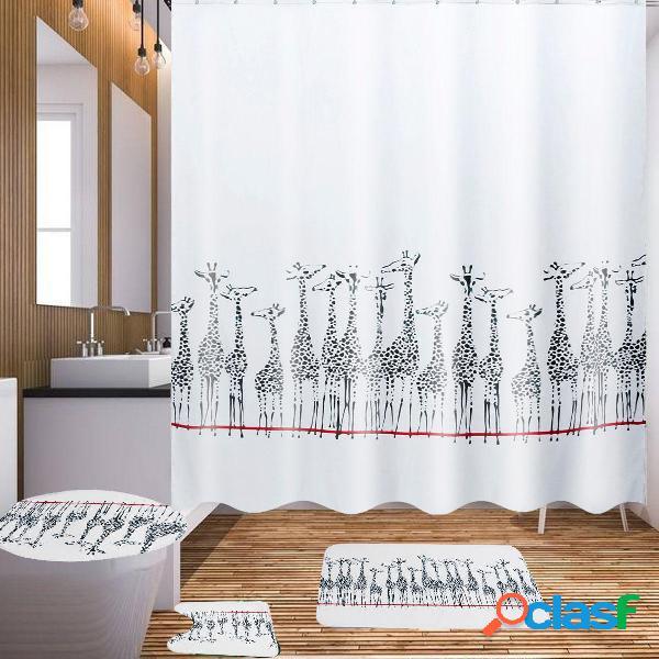 180x180cm Tende da doccia in tessuto da bagno con giraffa