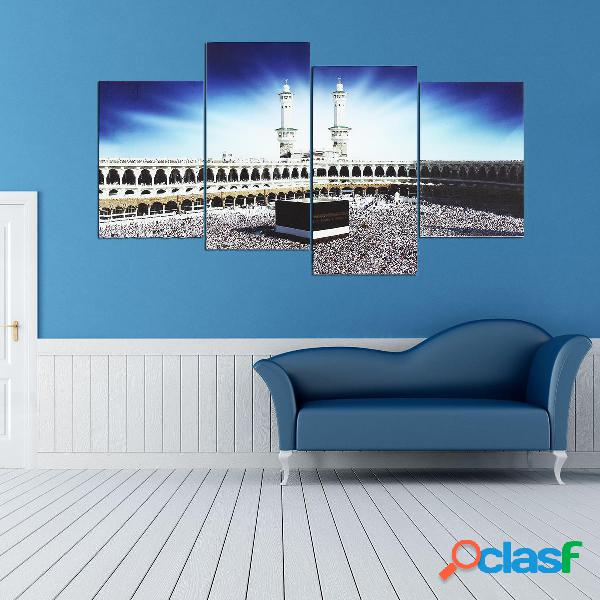 4 PCS Wall Art Print Mecca islamica Kaaba Hajj dipinti su