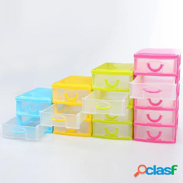 4 stili Stoccaggio di plastica multistrato Scatola Desktop