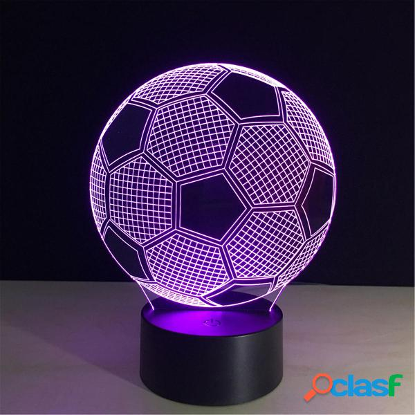 5V 3W 3D LED Fooball Night Light 7 colori Touch Switch