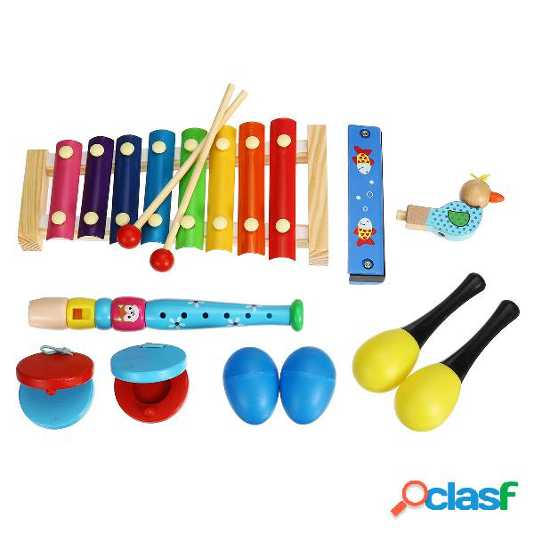 7 pezzi di strumenti musicali Orff Set Percussioni puzzle