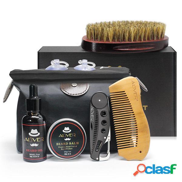 7pz Set di strumenti per la cura della barba Kit di pulizia