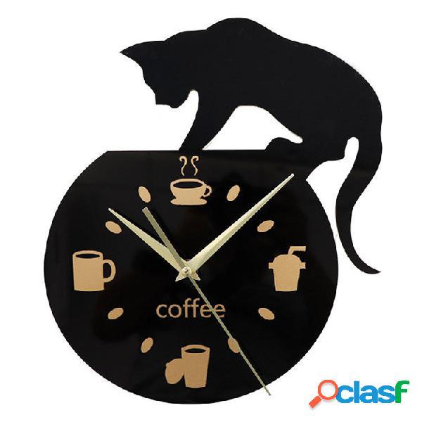 Emoyo ECY013 Orologio da parete creativo per gatto da caffè