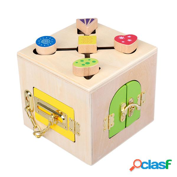 Materiale pratico Montessori in legno Little serratura