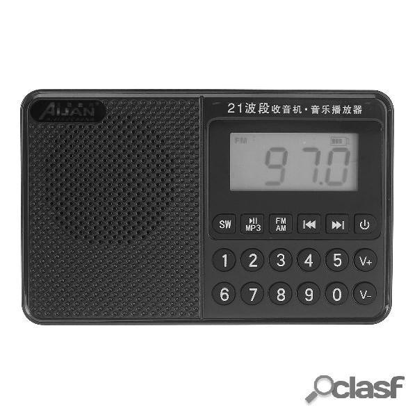 Portatile FM AM SW Full Banda Dual Antenna Radio U Disk TF