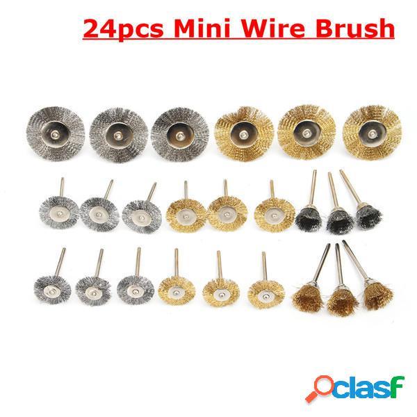 Spazzole in ottone 24pcs Mini filo di acciaio di lucidatura