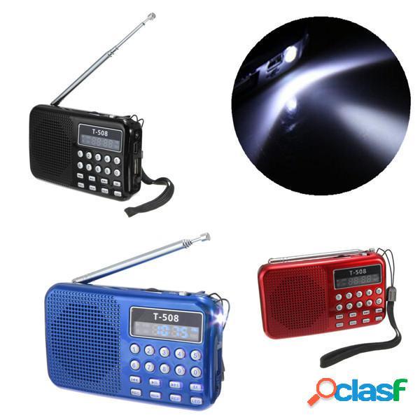 T508 LED Altoparlante stereo FM Radio USB TF Card Lettore