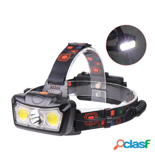 XANES® BT005 1300LM T6 + 2xCOB LED Lampada frontale