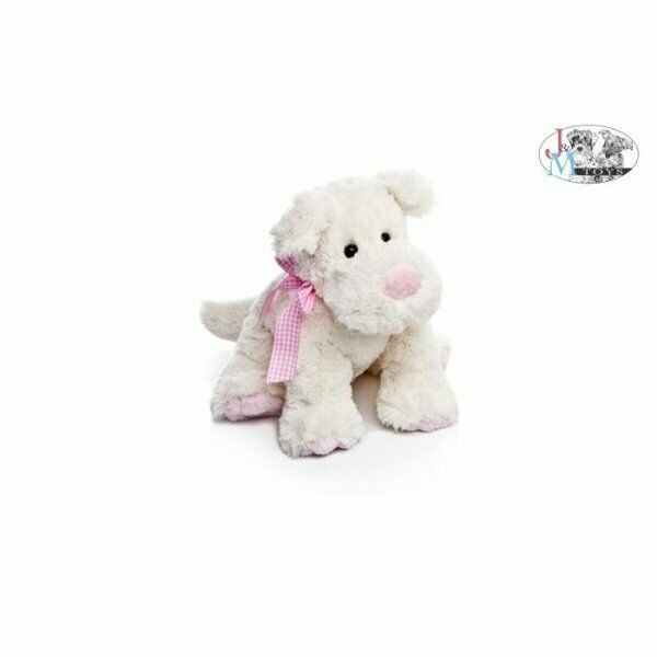 Peluche baby cane c/fiocco rosa r