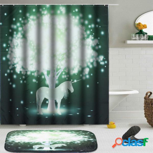 1.5x1.8m Magia Tenda per doccia da bagno unicorno e