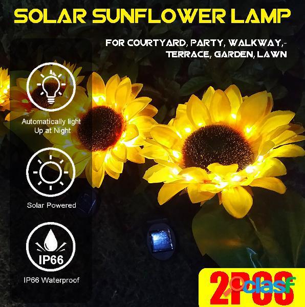 2PCS LED solare Light Sunflower lampada Decorazione per