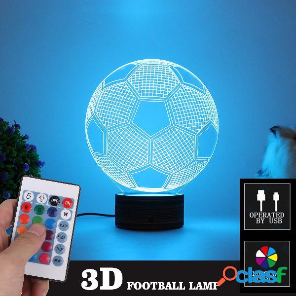 3D Football LED Night Light 16 colori regolabili USB 4 Mode