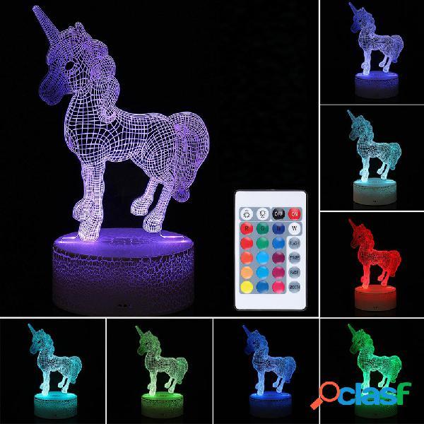 3D LED Night Light USB Horse Animal 7 colori cambia tavolo
