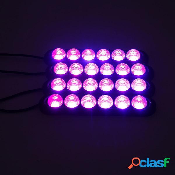 4 pezzi Interni auto Colorful 24 LED Atmosfera Ambiente