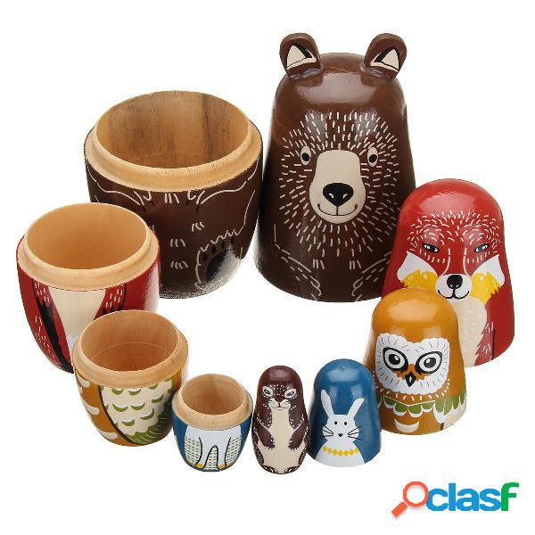 5 bambole Nesting in legno Aniimal Bear Bambola russa