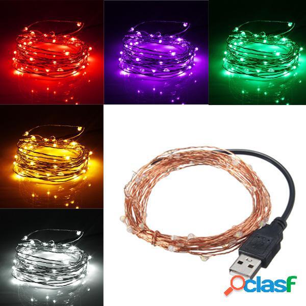 5M 50 LED USB Rame Cavo LED String Fairy Light per