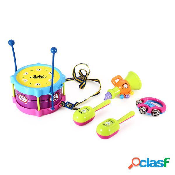 5PCS Boy & Girl Bambini Drum Toy Toy Kit Strumenti musicali