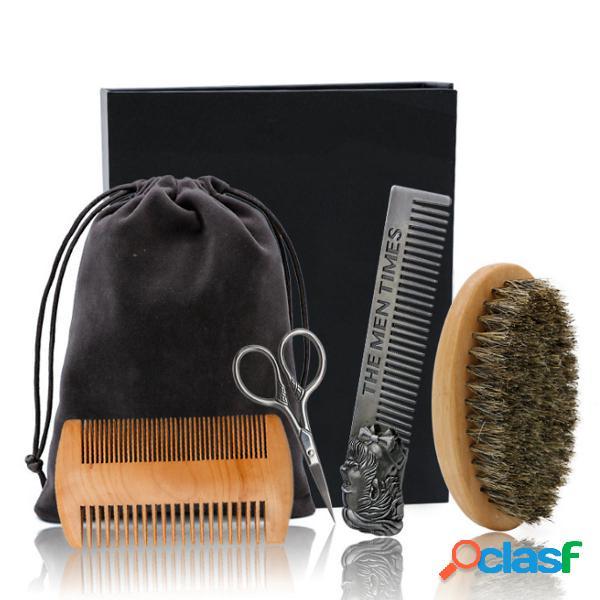 6Pcs / Set Kit per la cura della barba e il taglio Pennello
