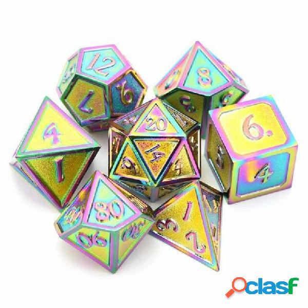 7Pcs / Set Set di dadi in lega di metallo Giocare a giochi