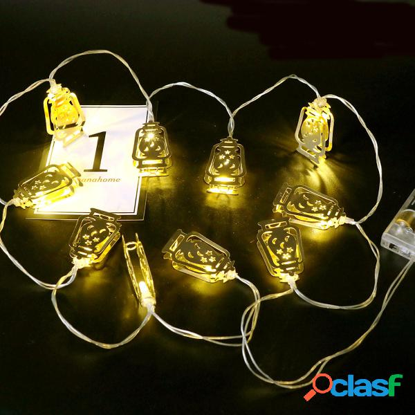 Batteria Operated Golden Fanoos Lantern 10 LED String Fairy